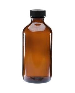 8 oz. Amber Boston Round Glass Bottle w/Black Ribbed F217 Cap, 28mm 28-400
