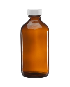 8 oz. Amber Boston Round Glass Bottle w/WhiteRibbed F217 Cap, 28mm 28-400