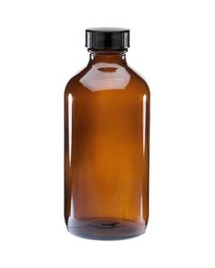 8 oz. Amber Boston Round Glass Bottle w/Black Poly Cone Cap, 28mm 28-400