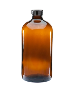 32 oz. Amber Boston Round Glass Bottle w/Black Poly Cone Cap, 33mm 33-400