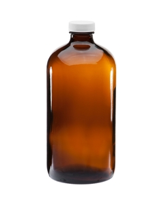 32 oz. Amber Boston Round Glass Bottle w/White Ribbed F217 Cap, 33mm 33-400