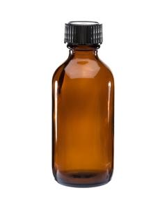 2 oz. Amber Boston Round Glass Bottle w/Black Poly Cone Cap, 20mm 20-400