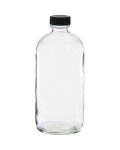 16 oz. Clear Boston Round Glass Bottle w/Black Ribbed F217 Cap, 28mm 28-400