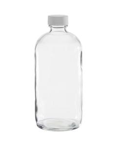 16 oz. Clear Boston Round Glass Bottle w/White Ribbed F217 Cap, 28mm 28-400