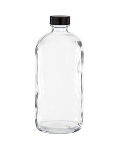 16 oz. Clear Boston Round Glass Bottle w/Black Poly Cone Cap, 28mm 28-400