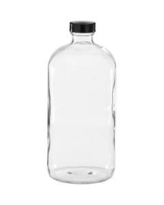32 oz. Clear Boston Round Glass Bottle w/Black Poly Cone Cap, 33mm 33-400