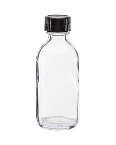 2 oz. Clear Boston Round Glass Bottle w/Black Poly Cone Cap, 20mm 20-400