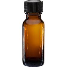 1/2 oz. Amber Boston Round Glass Bottle w/Black Poly Cone Cap, 18mm 18-400