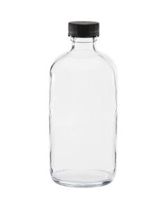 8 oz. Clear Boston Round Glass Bottle w/Black Ribbed F217 Cap, 24mm 24-400