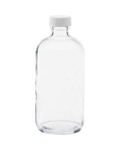 8 oz. Clear Boston Round Glass Bottle w/White Ribbed F217 Cap, 24mm 24-400