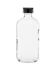 8 oz. Clear Boston Round Glass Bottle w/Black Poly Cone Cap, 24mm 24-400