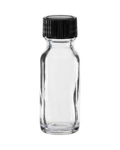 1/2 oz. Clear Boston Round Glass Bottle w/Black Poly Cone Cap, 18mm 18-400