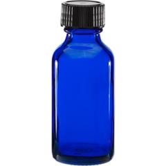 1 oz. Cobalt Blue Boston Round Glass Bottle w/Black Poly Cone Cap, 20mm 20-400