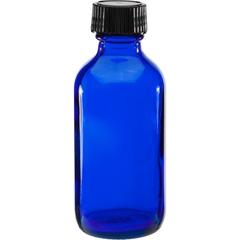 2 oz. Cobalt Blue Boston Round Glass Bottle w/Black Poly Cone Cap, 20mm 20-400