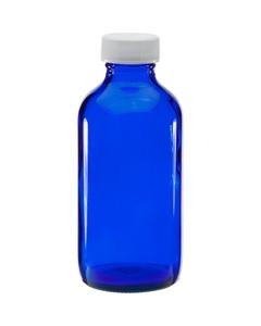 4 oz. Cobalt Blue Boston Round Glass Bottle w/White Ribbed F217 Cap, 24mm 24-400