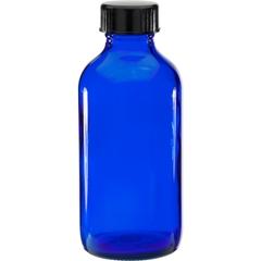 4 oz. Cobalt Blue Boston Round Glass Bottle w/Black Poly Cone Cap, 24mm 24-400