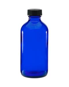 8 oz. Cobalt Blue Boston Round Glass Bottle w/Black Ribbed F217 Cap, 28mm 28-400