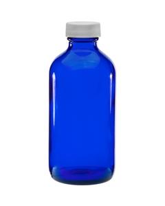 8 oz. Cobalt Blue Boston Round Glass Bottle w/White Ribbed F217 Cap, 28mm 28-400