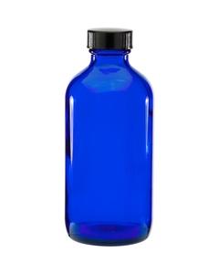 8 oz. Cobalt Blue Boston Round Glass Bottle w/Black Poly Cone Cap, 28mm 28-400