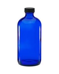 16 oz. Cobalt Blue Boston Round Glass Bottle w/Black Ribbed F217 Cap, 28mm 28-400