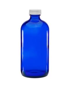 16 oz. Cobalt Blue Boston Round Glass Bottle w/White Ribbed F217 Cap, 28mm 28-400
