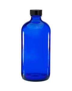 16 oz. Cobalt Blue Boston Round Glass Bottle w/Black Poly Cone Cap, 28mm 28-400