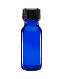 1/2 oz. Cobalt Blue Boston Round Glass Bottle w/Black Poly Cone Cap, 18mm 18-400