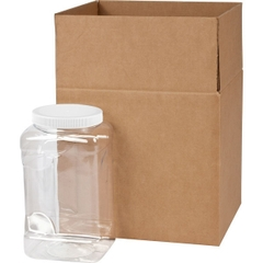 128 oz. Clear PET Plastic Square Pinch Grip Jar w/White Lined Cap, 110mm 110-400, 4x1 Reshipper Box
