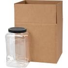 128 oz. Clear PET Plastic Square Pinch Grip Jar w/Black Lined Cap, 110mm 110-400, 4x1 Reshipper Box