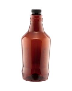 64 oz. Amber Plastic Beer Growler w/ Black Cap, 38mm M38-400
