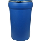 55 Gallon Blue Plastic Drum, Taper Sided, UN-Rated, Cover w/Metal Lever Lock