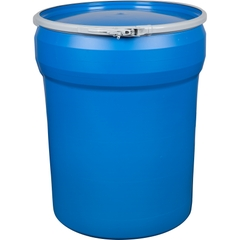 40 Gallon Blue Plastic Drum, UN Rated, Cover w/Plastic Lever Lock