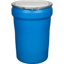 30 Gallon Blue Plastic Drum, Taper Sided, UN Rated, Cover w/Metal Lever Lock