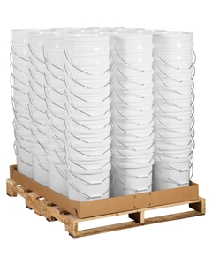 Unit Pack (120 ea.) 5 Gallon White Plastic Pail (75 mil) w/Metal Handle (P4 Series)