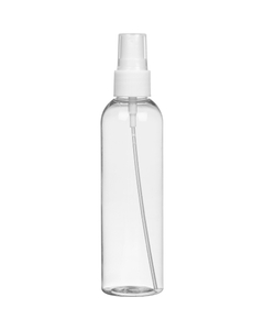 4 oz. Clear PET Plastic Bullet Bottle w/White Mist Sprayer