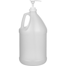 "1 Gallon Natural HDPE Plastic Round Jug (110 Gram), 38mm 38-400, Lotion Pump w/11-3/5"" Dip Tube"