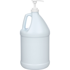 1 Gallon Blue/White HDPE Plastic Round Jug (110 Gram), 38mm 38-400, Lotion Pump w/11-3/5