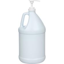 "1 Gallon Blue/White HDPE Plastic Round Jug (110 Gram), 38mm 38-400, Lotion Pump w/11-3/5"" Dip Tube"