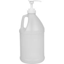 "1/2 Gallon Natural HDPE Plastic Round Jug (70 Gram), 38mm 38-400, Lotion Pump w/9-1/2"" Dip Tube"