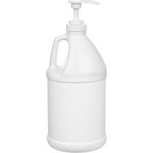 "1/2 Gallon White HDPE Plastic Round Jug (70 Gram), 38mm 38-400, Lotion Pump w/9-1/2"" Dip Tube"
