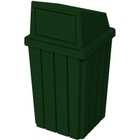 32 Gallon Green Granite Slatted Square Trash Receptacle, Dome Top Lid