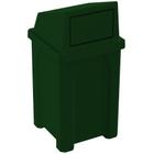 32 Gallon Green Granite Square Trash Receptacle, Dome Top Lid