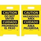 """20"""" x 12"""" Caution Do Not Enter - Bilingual Double-Sided Floor Sign"""
