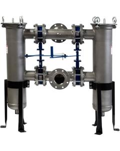 "Size #4 (12"" Basket Depth) Type 316 Stainless Steel Duplex Filter Vessel"