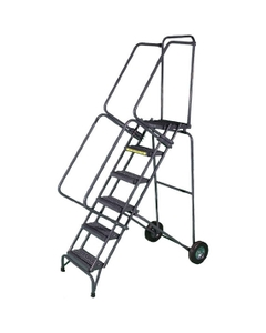 """Gray Fold-N-Store Rolling 10 Step Ladder, 30"""" x 76"""" Base"""