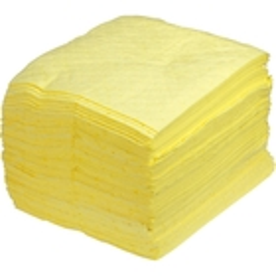 "15"" x 18"" Medium-Weight Hazmat Absorbent Pads, Sonic Bonded, Yellow (100 pads/bag)"