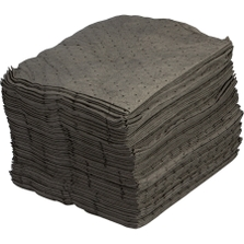 """15"""" x 18"""" Heavy-Weight Univ. Absorbent Pads, Steel Sorb, Gray (100 pads/bag)"""