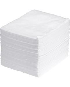 "15"" x 18"" Heavy-Weight Oil Absorbent Pads, Melt Blown, White (100 pads/bag)"