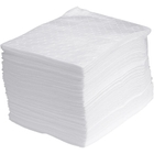 """15"""" x 18"""" Medium-Weight Oil Absorbent Pads, Sonic Bonded, White (100 pads/bag)"""