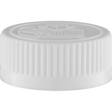 33mm 33-400 White Child Resistant Cap (Pictorial) w/F217 Embossed Vented Liner (Top)